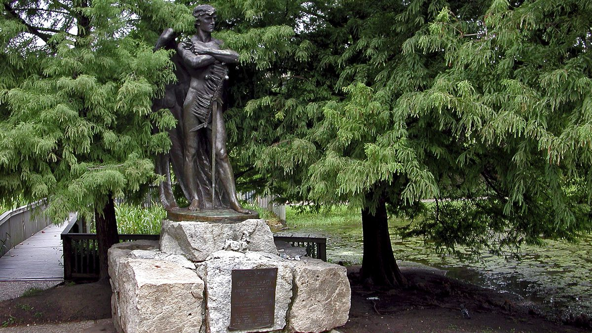 "This undated photo provided by the Houston Parks and Recreation Department shows the ""Spirit of the Confederacy"" statue in Houston. Two statues that pay tribute to the Confederacy will be removed from Houston city parks, including the ""Spirit of the Confederacy"" statue, Mayor Sylvester Turner announced Thursday, June 11, 2020.  (Houston Parks and Recreation Department via AP)"