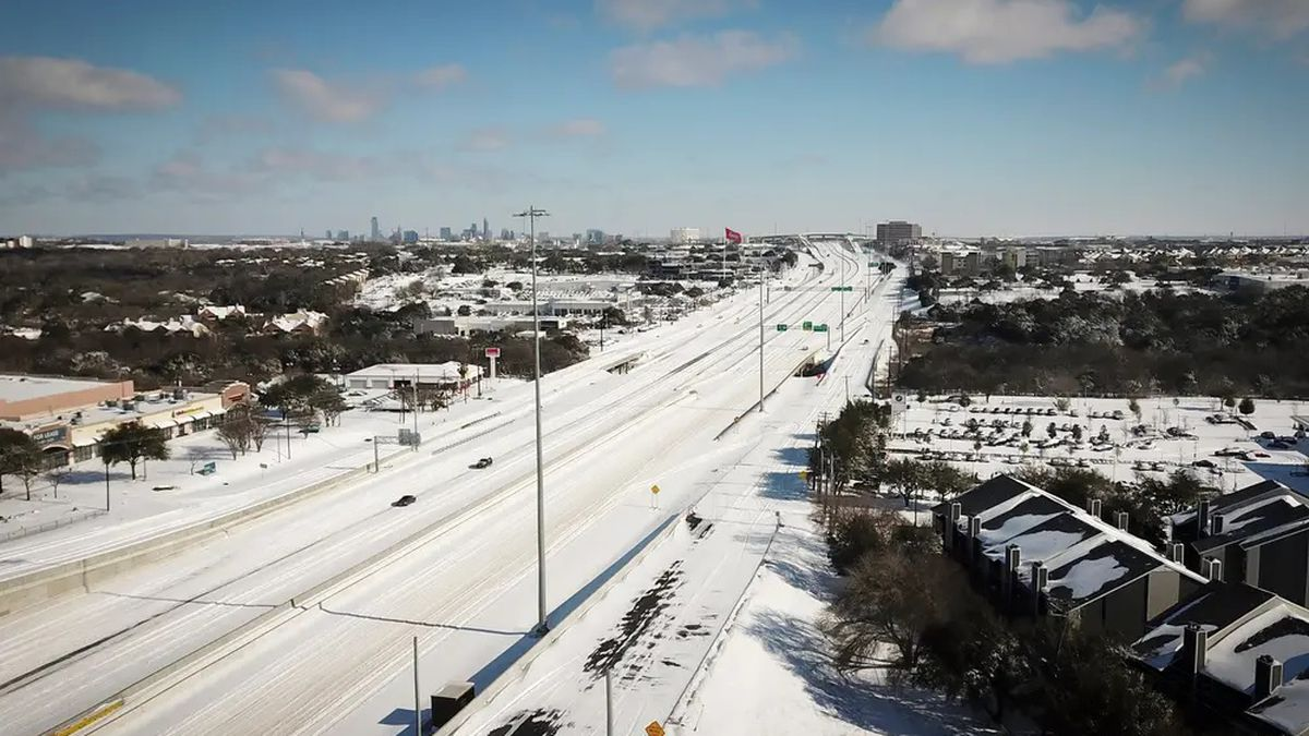 An aerial view of northbound Interstate 35 at Stassney Lane in South Austin after a severe snow...