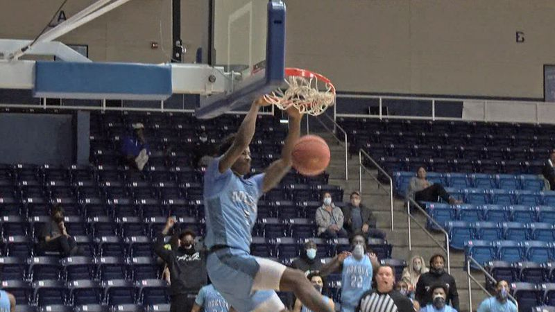 Odessa College guard Elijah Tate dunks in the Wranglers win over Loyalty Prep on Feb. 4