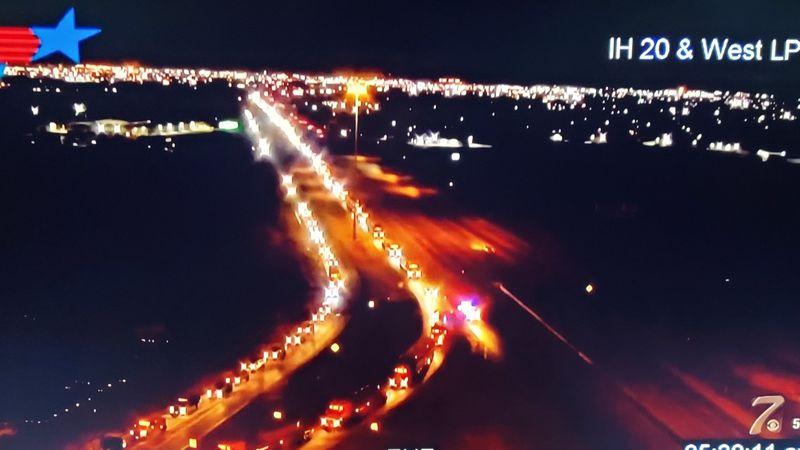 Traffic backed up on I-20 westbound near W Loop 250 in Midland Thursday morning.
