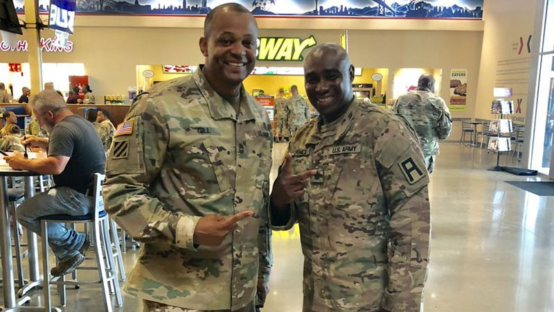 First Sgt. Almasi Gill (left) and Sgt. 1st Class Marcus Jones.