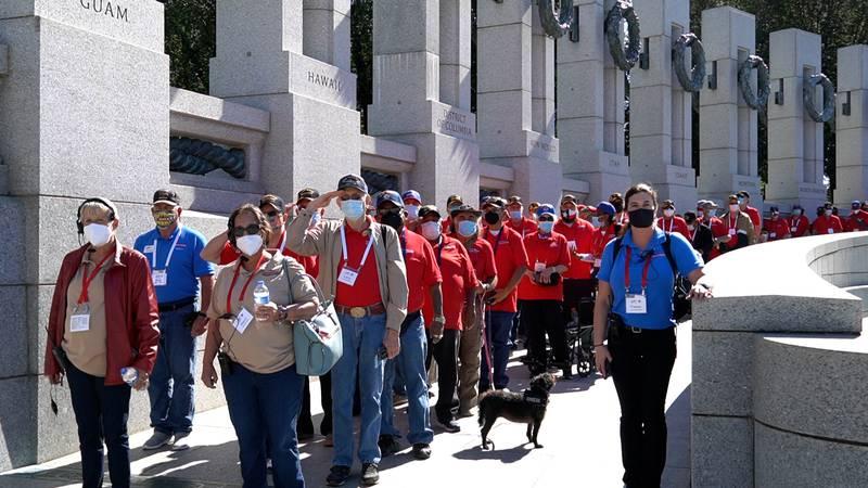 Permian Basin Honor Flight Visits the World War II Memorial in Washington.