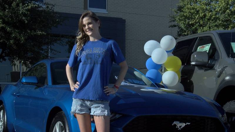 Montana Hudson is driving home in a new 2020 Mustang.