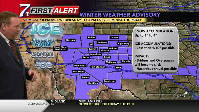 West Texas Winter Weather Forecast 10 p.m. 2/17