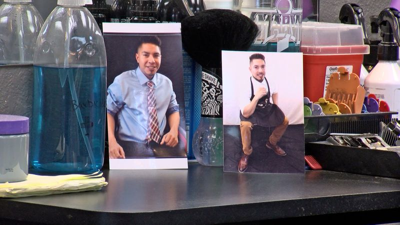Photos of Frankie Lujan at his barbershop