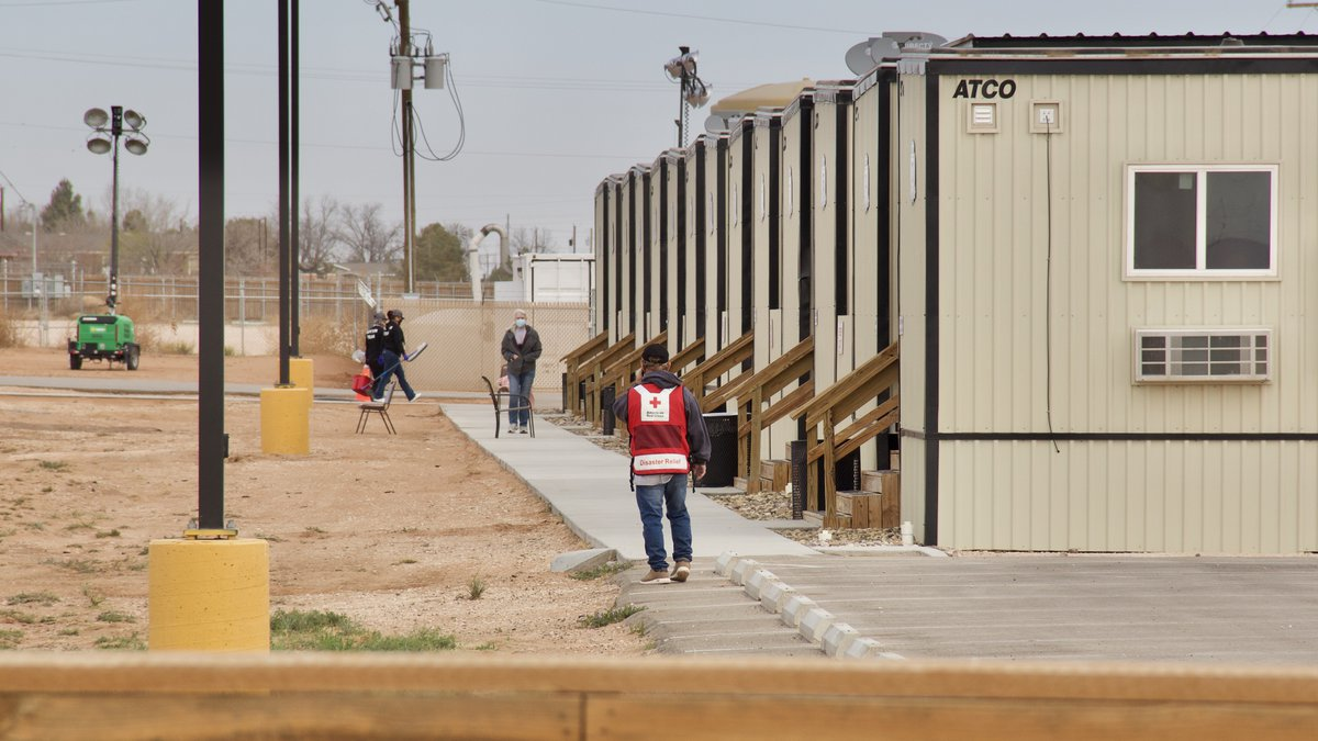 Staff at the migrant holding facility in Midland.