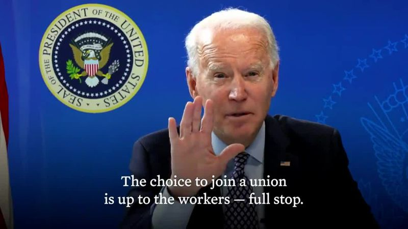 In a video posted Sunday, President Joe Biden encourages workers to have freedom to choose...