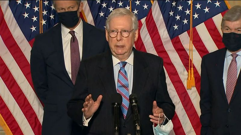 Senate Minority Leader Mitch McConnell called the virus relief bill 'dramatically more money...