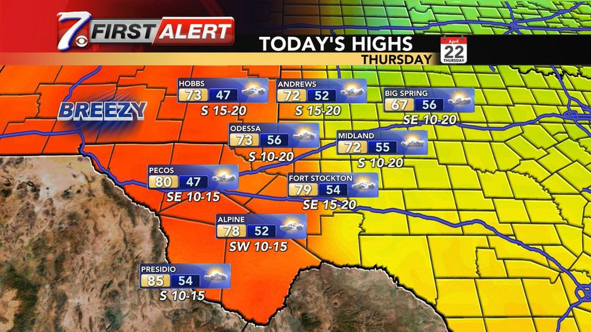 West Texas Weather Forecast for Thursday, April 22.