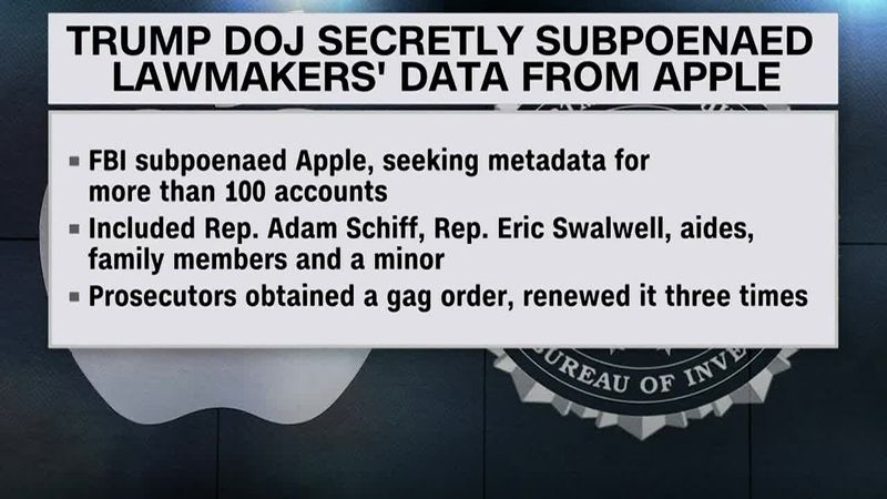 The Trump Justice Department subpoenaed Apple for data from House intelligence committee...