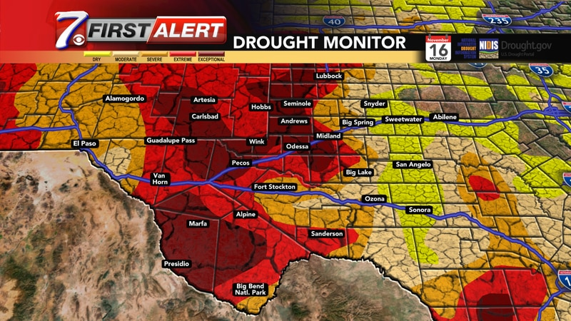 Exceptional to extreme drought for most of West Texas and Southeastern New Mexico.