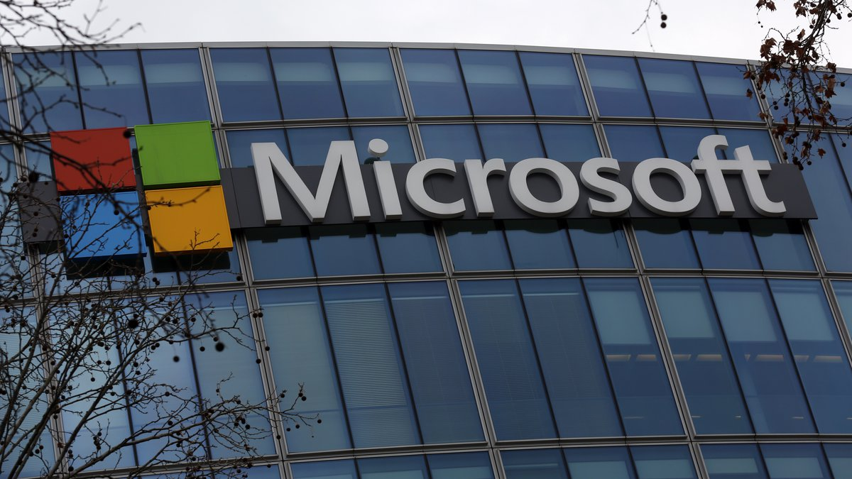 The logo of Microsoft is displayed outside the headquarters in Paris, Friday, Jan. 8, 2021.