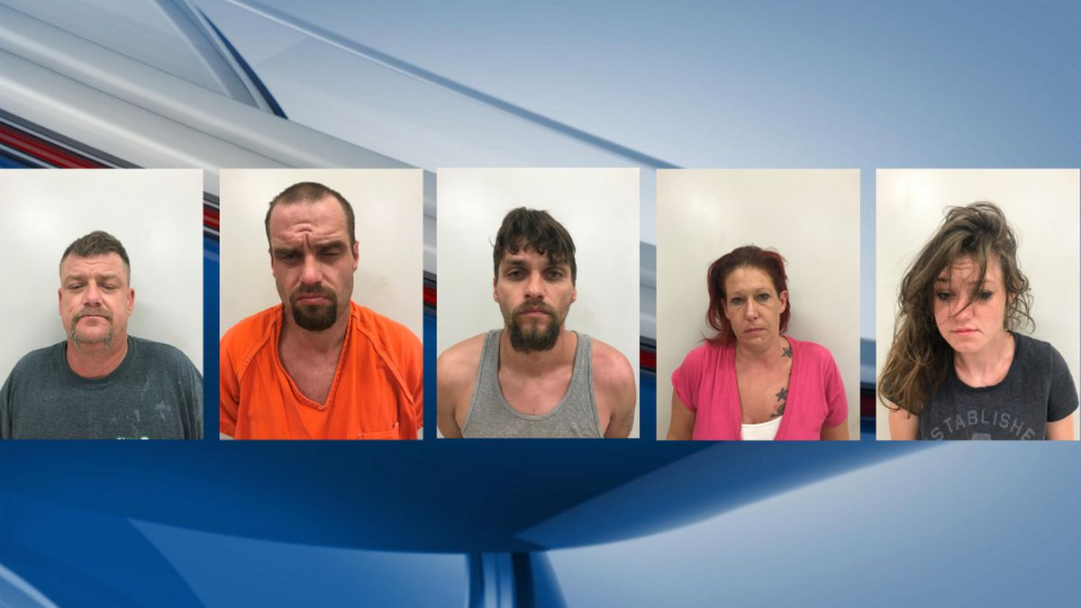 Allan Ward, 46, Thomas Bolton, 37, Marty Evans, 29, Krystal Buchanan, 36, and Anastasia Coker, 23, were arrested in Big Spring on Wednesday. (Photos: Big Spring Police Department)
