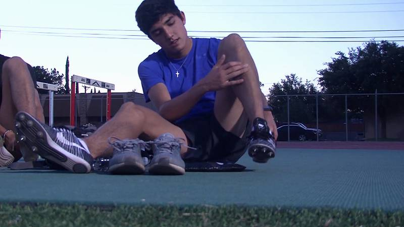 Bryce Hoppel at track practice during his time at Midland High School