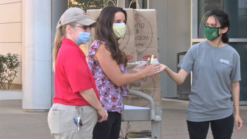 Members of the Phi Theta Kappa Honor Society delivered lunches to Midland Memorial Hospital on...