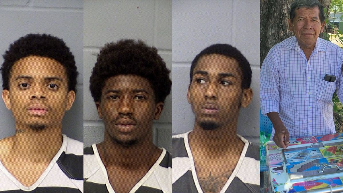 (Left to right)  Devlon Wardy, Jermaine Jones and Marquis Davis are charged with capital murder in the shooting death of ice cream vendor Adelaido Bernabe Urias, 68 (far right).  (Austin Police Dept. photos)
