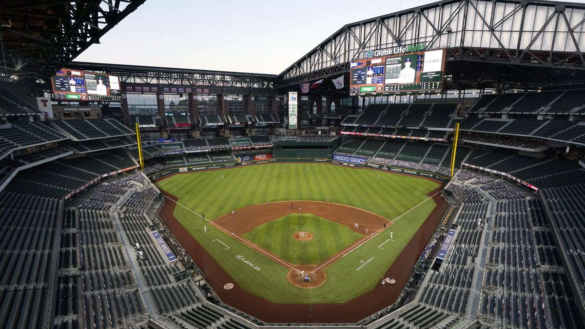 The Houston Astros play against the Texas Rangers in the fourth inning of a baseball game at Globe Life Field in Arlington, Texas, Saturday, Sept. 26, 2020. (AP Photo/Tony Gutierrez)