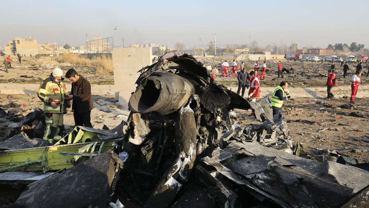 This Wednesday, Jan. 8, 2020 file photo shows debris at the scene where a Ukrainian plane crashed in Shahedshahr, southwest of the capital Tehran, Iran.
