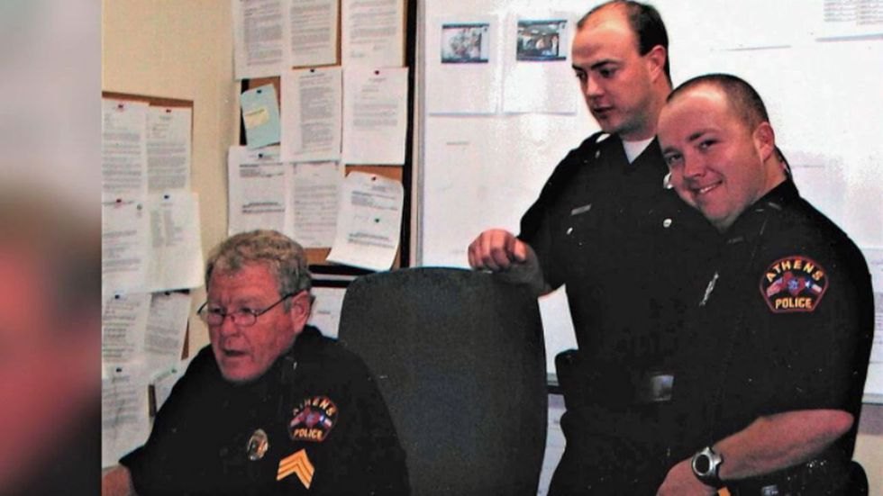 Chad Walker (right) and other officer during his time at Athens PD.
