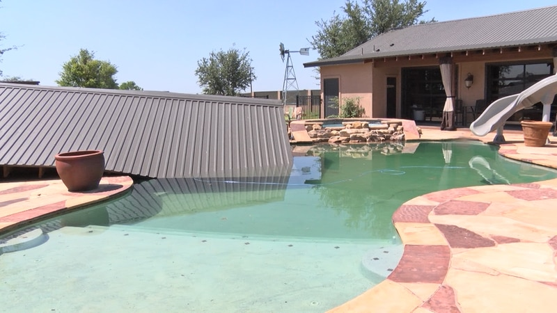 The cover of the Welch's outdoor gazebo ended up in their pool.