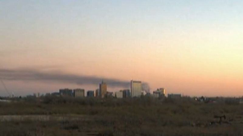 A huge plume of smoke in Midland County Monday morning from a flare.