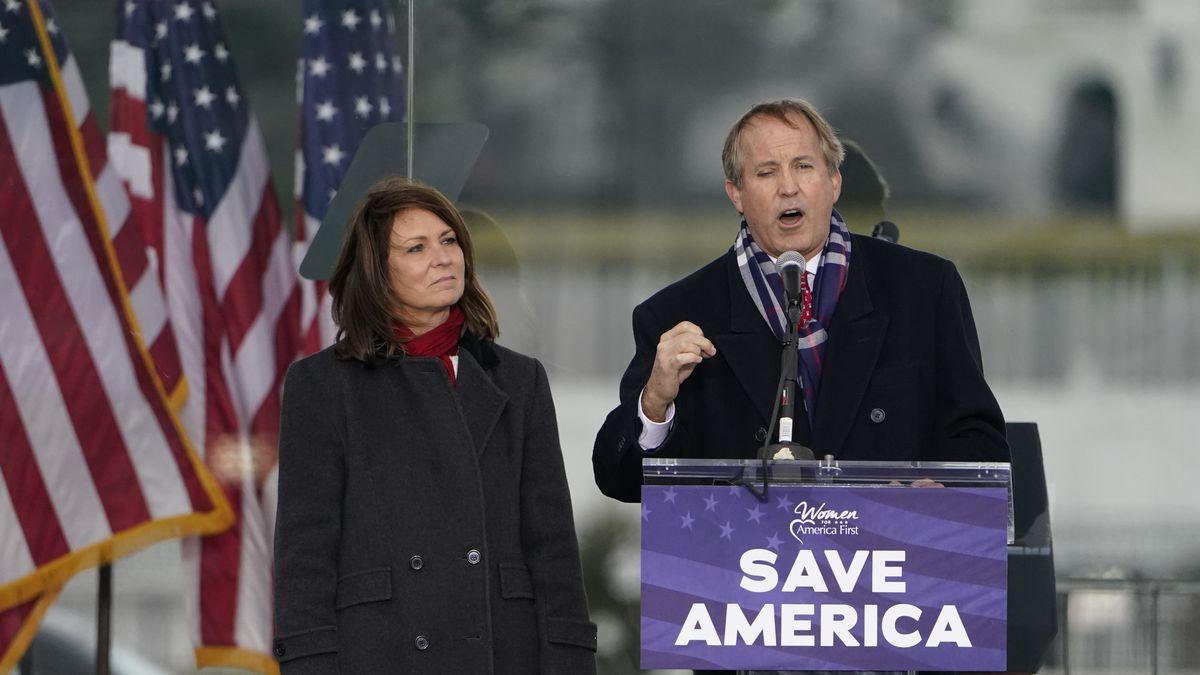 FILE - This Jan. 6, 2021 file photo, Texas Attorney General Ken Paxton speaks in Washington, at...