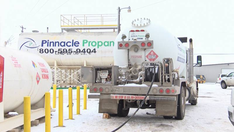 Residents waited in long lines at Pinnacle Propane, some around 3 hours, just to fill up their...