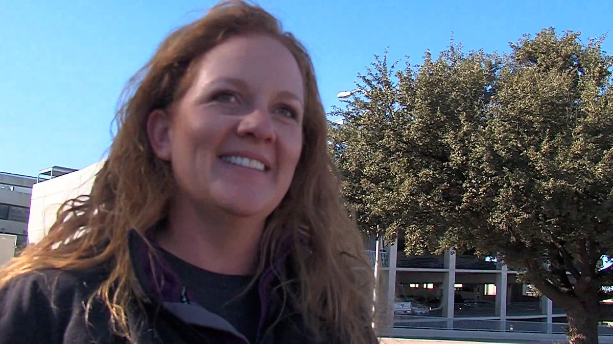 Jenny Cudd leaving the Federal Courthouse in Midland.