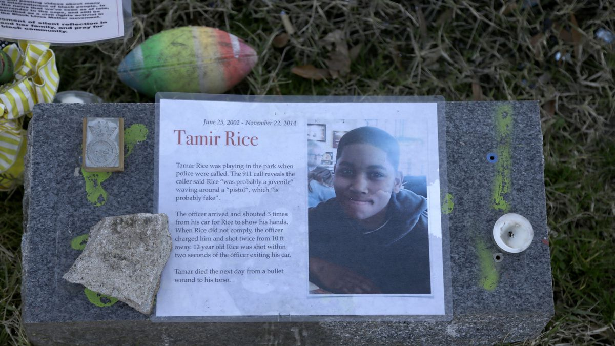 In this Dec. 13, 2020, file photo a memorial for Tamir Rice is seen at the base of the Gen....