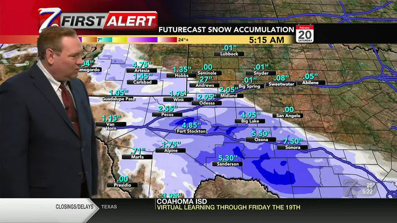 West Texas Winter Weather Forecast 5 p.m. 2/17