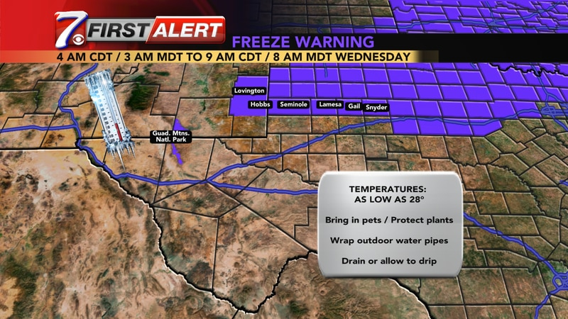 A cold snap is expected in the northern Permian Basin Tuesday night through Wednesday morning.